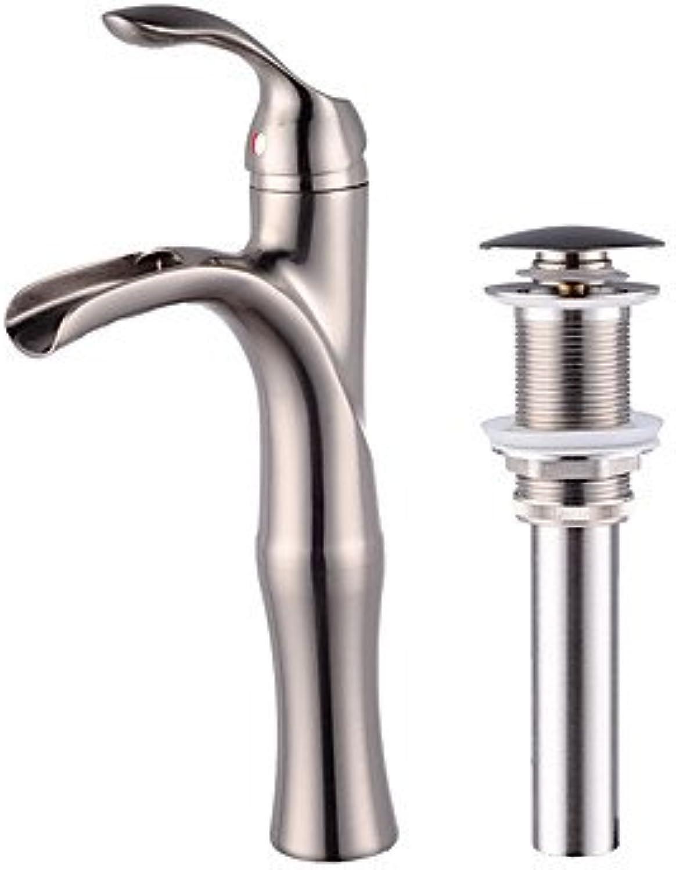 ZYT Nickel Brushed Tall Single Handle Lever Bathroom Sink Vessel Faucet