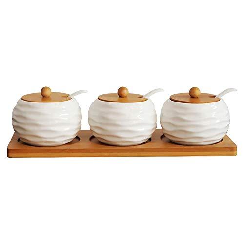 Set di barattoli per spezie, portaspezie, in ceramica e bambù, con coperchio e cucchiaio, eleganti stoviglie salvaspazio per zucchero, tè e chicchi di