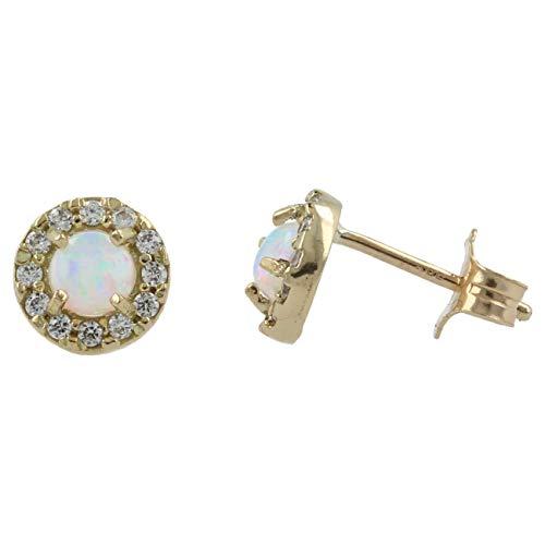 Gioiello Italiano - Ronde geelgouden oorbellen met synthetisch opaal en zirkoenen, dames, vlindersluiting