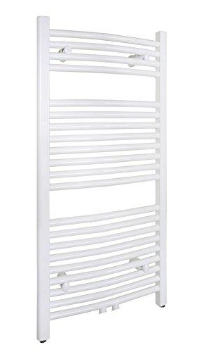 SixBros. R20 Badheizkörper (1000 x 450 mm, Watt 423) – Ovaler Heizkörper mit Handtuchhalter für das Bad - pulverbeschichtet – weiß