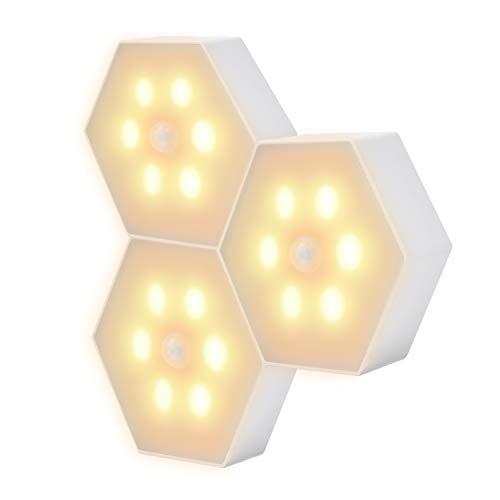 人感センサー ライト 電池式 LEDライト 3個セット 3Mテープ 磁石付き ナイトライト 柔らかい光源 室内 小型 夜間ライト