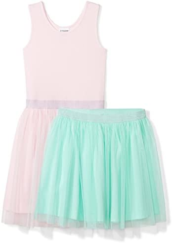 Spotted Zebra Girls Kids Knit Sleeveless Tutu Tank Dress and Skirt Set Pink Mint Green Medium product image