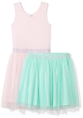 Spotted Zebra Girls' Kids Knit Sleeveless Tutu Tank Dress and Skirt Set, Pink/Mint Green, Medium