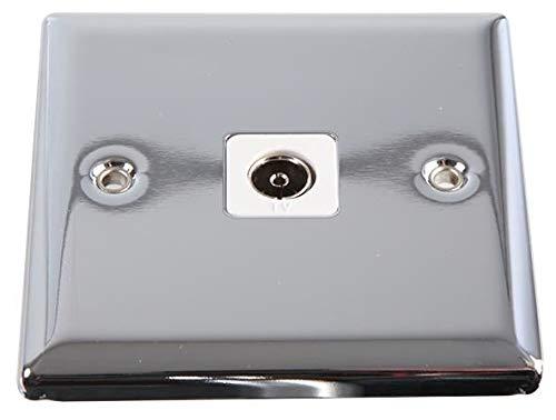 VOLEX ACCESSORIES - Toma de TV coaxial con borde en ángulo pulido cromado/blanco