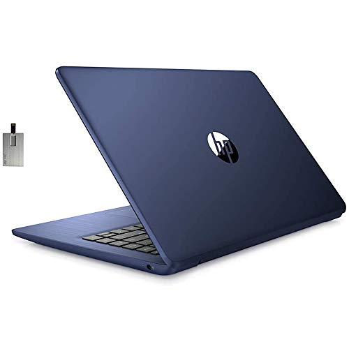 "2021 HP Stream 14"" HD SVA Laptop Computer, Intel Celeron N4000 Processor, 4GB RAM, 64GB eMMC Flash Memory, Webcam, 1-Year Office, Intel UHD Graphics 600, Win 10S, Royal Blue, 128GB SnowBell USB Card"