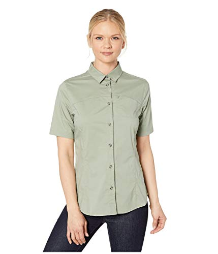 FJÄLLRÄVEN High Coast Stretch Shirt SS W Camiseta Manga Corta con Bolsillo en el Pecho, Mujer, Verde (Sage Green), XS
