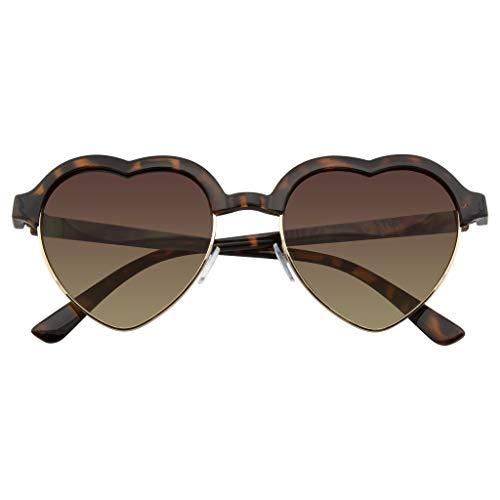 Emblem Eyewear - Lindo Vintage Clubmaster De Medio Marco Inspirado En Gafas De Sol De Forma Corazón (Marron)