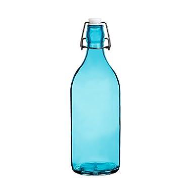 Colorful Reusable Glass Water Bottles With Swing Top Leakproof Cap, 1L / 34oz, Flowersea Glasss Water Bottle for Oil, Vinegar, Beverages, Beer, Water, Kombucha, Kefir, Soda (Ocean Blue, Round)