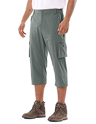 BALEAF Men's Hiking Cargo Shorts Quick Dry UPF 50+ Capris Pantst with 6 Pockets Dark Grey Size M