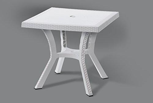 Dimaplast2000 AMZ037 Tavolino Rattan Quadrato con Incrocio, Bianco, 80 x 80 x 72 cm