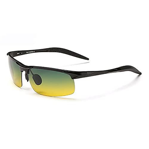 BEIAKE Gafas De Sol Polarizadas Adultos Gafas Gafas De Sol De Estilo Día Y De Noche Adecuado para Ciclismo, Correr, Viajar, Playa, Gafas De Manejo,Negro