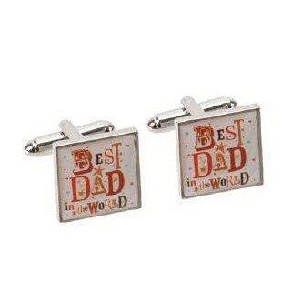 Blue Eyed Sun Boutons de Manchette Best Dad in The World pour Fête des Pères - Boîte Cadeau