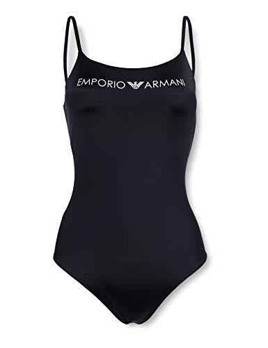 Emporio Armani Damen Swimsuit Beachwear Logo Lover Badeanzug, Schwarz (Nero 00020), 38 (Herstellergröße: M)