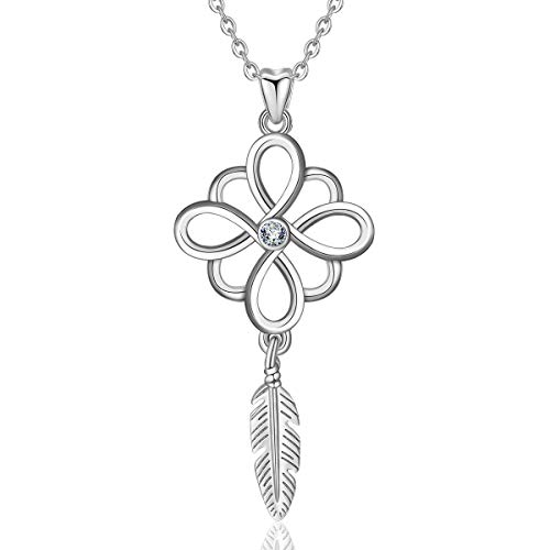 INFUSEU Tribe Dream Catcher Necklace for Women Teen Girls Infinity Cross Celtic Knot Feather Tassel Short Pendant Neckless Sterling Silver Boho Jewelry