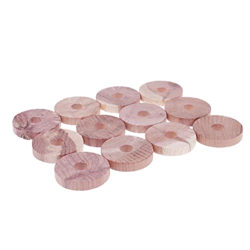 Lot de 12 anneaux en bois de cèdre naturel anti-mites, anti-mites, anti-acariens, anti-moisissures pour armoire, tiroirs, voiture