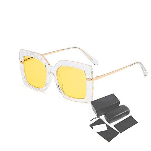 Gafas de Sol Deportivas polarizadas, Marco de plástico Cuadrado de Moda Retro, Utilizado para Montar Golf de Pesca,Amarillo