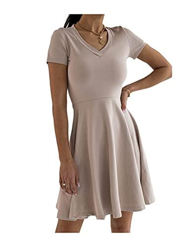 SELFIEROOM Vestido de manga corta para mujer con cuello en V y falda acampanada, beige, L