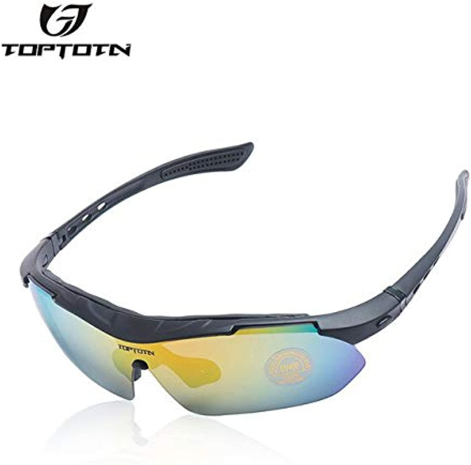 02   TOPTETN Polarized Cycling Glasses Bike Outdoor Sports Bicycle Sunglasses Goggles 5 Groups of Lenses Eyewear Myopia Frame