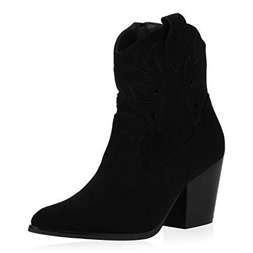 SCARPE VITA Damen Stiefeletten Cowboy Boots Cut Out Western Schuhe Wildleder-Optik High Heel Cowboystiefel Holzoptikabsatz 191632 Schwarz 37