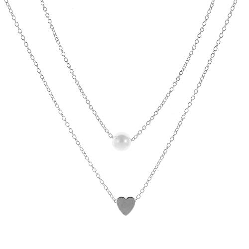 Bohemian Necklace with Love And Pearl Pendant for Birthday Friendship Jewelry Mothers Day Gift (Silver)