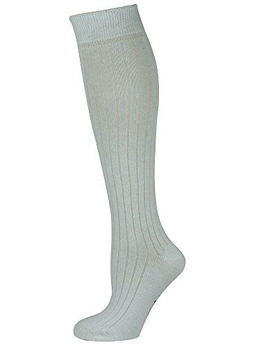 Mysocks Unisex Kniestrümpfe lange Socken gewelltes Weiß