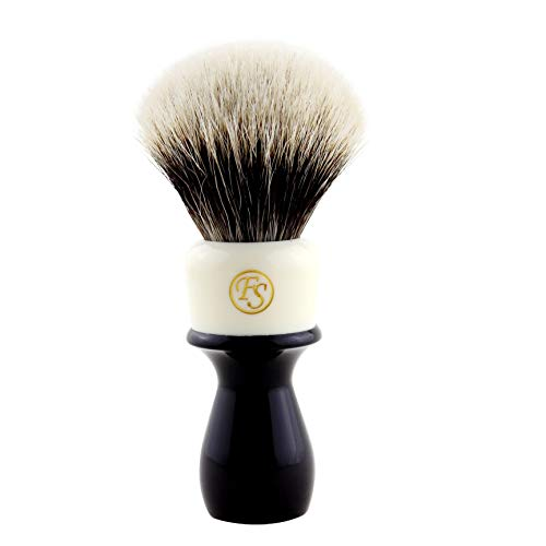 Handmade 2 Band Finest Badger Hair Shaving Brush with Mixed Color Extra Long Handle Free Stand