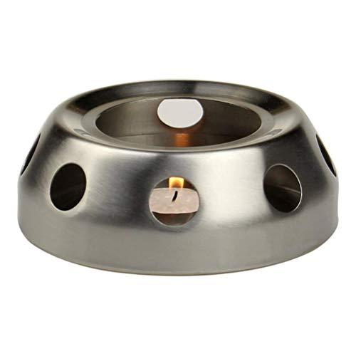 Kylewo Thee-warmer van geborsteld roestvrij staal, mat, thee-warmer voor theepot, theelicht en theepot is niet inbegrepen