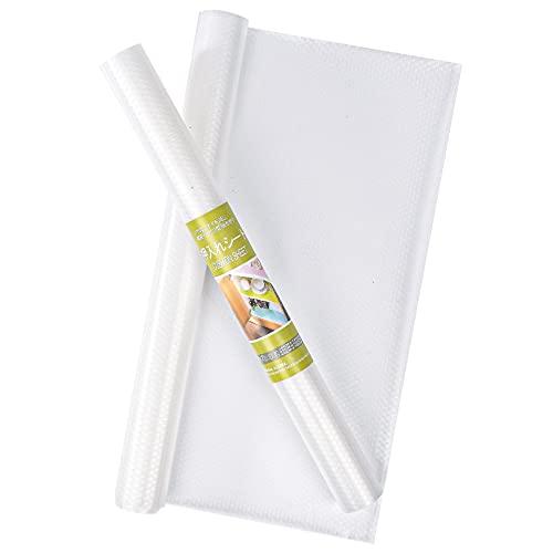2 rollos de 45 x 149 cm transparente para estantes con material EVA no adhesivo, resistentes al agua, antideslizantes, para armarios de cocina, armarios de nevera, estantes y escritorios