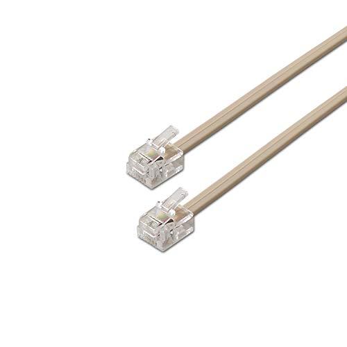 AISENS A143-0318 - Cable de teléfono (6P4C, M-M, 3 m) Color Beige