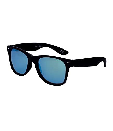 SIX Trendy 326-317 - Gafas de sol con marco de plástico negro y lentes azules, lentes de espejo, filtro UV400