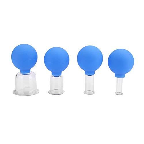 Massaggiatore per coppette anticellulite - Set per terapia con coppettazione, set di coppette per vuoto sottovuoto 4 pezzi scatola Set di coppette per massaggio per il corpo in vetro siliconico
