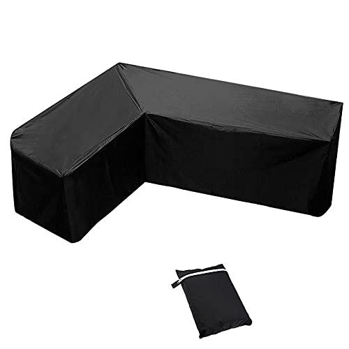 L-förmigen Abdeckung Sofa, Patio-Sofabezug 420D wasserdichter Gartenmöbelbezug für den Außenbereich, Gartencouchschutz mit Aufbewahrungstasche zum Bewegen (270x270x90cm)