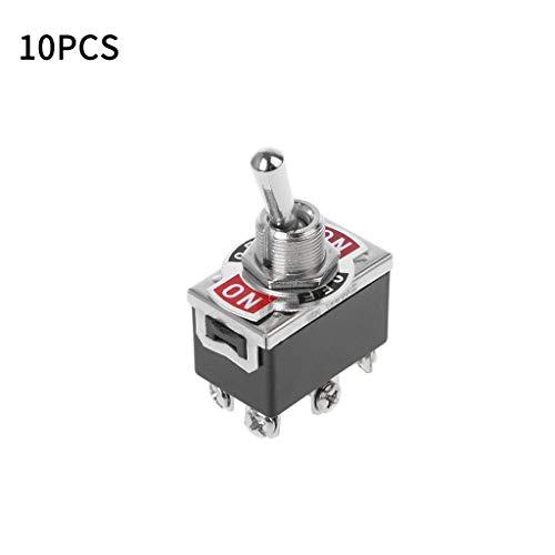 Zuanty 10 6-polige 3 Schaltstellungen DPDT EIN-AUS-EIN-Schalter 15A 250V Mini-Motorschalter mit Verpolung Werkzeug E-TEN1322 Kunststoff + Legierung