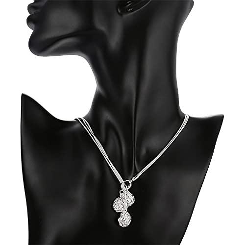 DOOLY Collar con Colgante de Tres Flores Rosas de Plata de Ley 925 para Mujer, Collar de Cadena de Serpiente, joyería de Compromiso de Boda