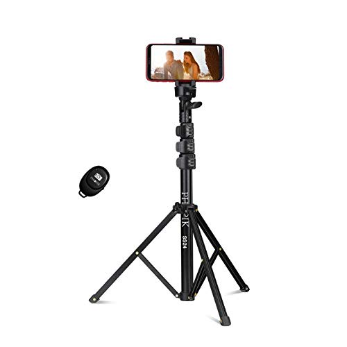 PHOPIK Selfie Stick Tripod, Phone Tripod Extendable Camera & Cell Phone Tripod Stand with Bluetooth Remote for iPhone & Android Phone, Lightweight, Portable Phone Tripod for Shooting, Vlog, Selfie