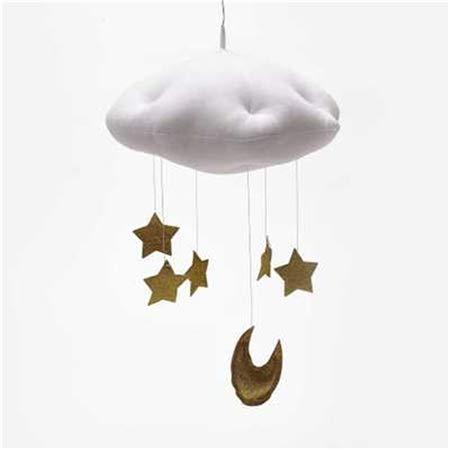 WXX Baby Nursery Techo Decoración de Fiesta móvil Nubes Luna Estrellas Decoraciones Colgantes Decoración de la habitación de los niños for Ropa de Cama for bebés (Oro Rosa) (Color : White Gold)