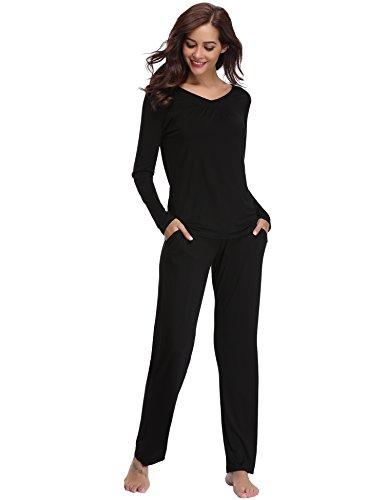 Aibrou Damen Einfarbige Pyjama Set, Zweiteiliger Modal Langarm Schlafanzug Schwarz XL