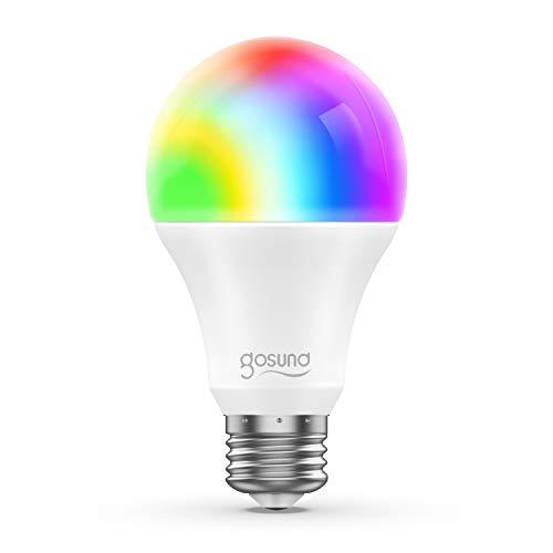 E27 Glühbirne, Gosund Smart Lampe Wlan Mehrfarbige Dimmbare Energiesparen Lampe Sprachsteuerung,Fernbedienung,Timer,Kein Hub Erforderlich,Gute Wärmeableitung,Leicht und langlebig,2.4GHz (1PACK)