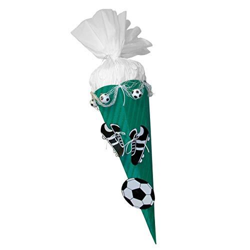 Schultüte Bastelset Fußball grün-weiß - Zuckertüte - aus 3D Wellpappe, 68cm hoch, mit vorgedruckten Motiven und Netz