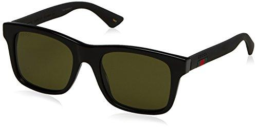 Gucci Men's GG0008S Sunglasses, Black-Black-Green, 53