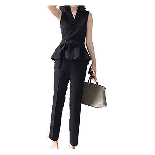 Conjunto Mujer De Verano Temperamento De Rayas Sin Mangas Pequeño Traje Chaleco + Casual Nueve Pantalones Elegante Pieza De Traje