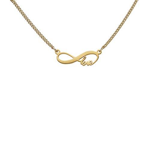 Draeger Paris – Pulsera de fantasía de metal dorado, diseño de infinito texto Love – Sin níquel – 20 cm – Ideal para regalo personalizado y diseño