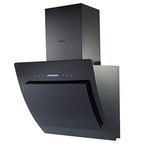 NEG Dunstabzugshaube KF641EKB (Umluft/Abluft) schwarz 60cm kopffrei mit LED-Beleuchtung, Randabsaugung und Fernbedienung, Glas-Front, 5 Motorstufen (max. 850m³/h), sehr leise