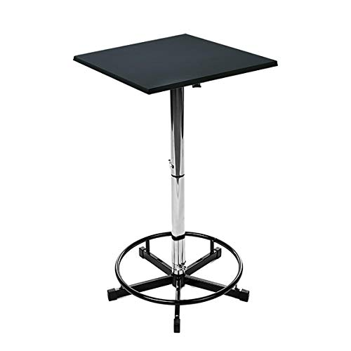 Stehtisch Delforge 70x70 Black Stehbiertisch Bistrotisch Gartentisch Edelstahl, quadratisch, höhenverstellbar, 70x70cm in Gastroqualität