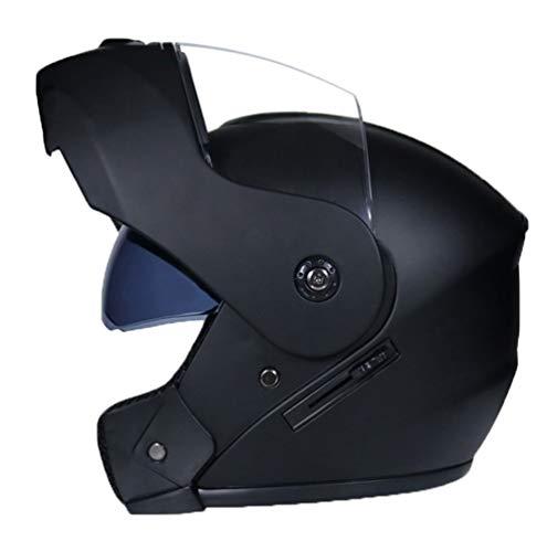 Roofeel Casco de Motocicleta Protección con Doble Visera Clásico Flip up Moto Cascos Deportiva Casco Integral (Negro#1, 56-57 cm)
