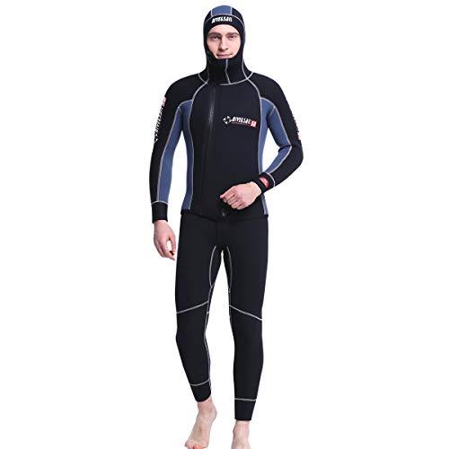 AYUSHOP Cappuccio Termica Inverno Muta da Sub, Lunghezza 5 Millimetri Completa Neoprene Diving Uomo Muta da Sub con Super Stretch Collo e Polsini, per Snorkeling, Immersioni, Nuoto,M