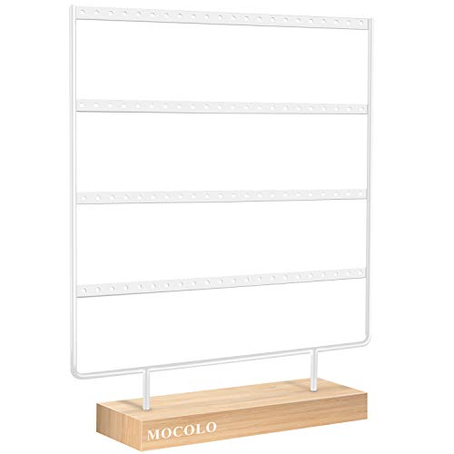 Mocolo Earring Holder Stand, Earring Organiser Display Stand for Hanging Earrings(88 Holes & 4 Layers) (White)