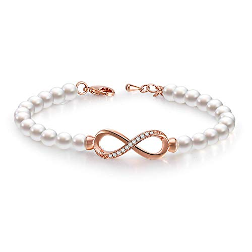 GEORGE · SMITH Forever Elegance Adjustable Infinity Freshwater Cultured Pearl Bracelet for Women, Crystals Jewelry Bridesmaids Bridal Collection Gift Box (Rose Gold-Infinity)