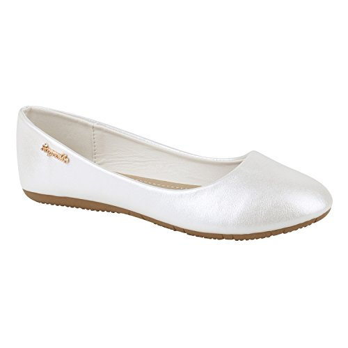 stiefelparadies Klassische Damen Ballerinas Flats Leder-Optik Lack Glitzer Schleifen Ballerina Übergrößen Schuhe 141414 Weiss 36 Flandell
