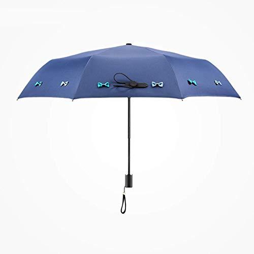 YNHNI Impreso Tres Pliegue, Paraguas, Repelente, Paraguas, protección Solar, conglue, Paraguas de Viaje de Revestimiento UV, Bloqueo UV,Portátil (Color : Blue)